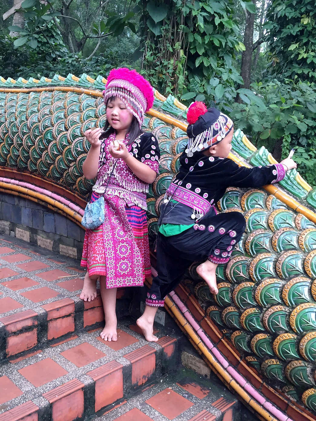 children play on the temple